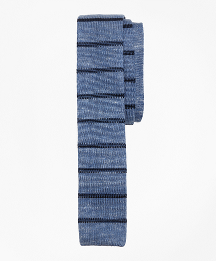 Striped Linen-Silk Knit Tie