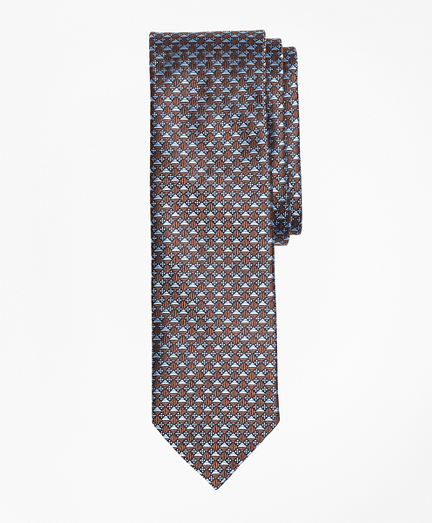 Geometric Floral Pattern Mercerized Silk Tie