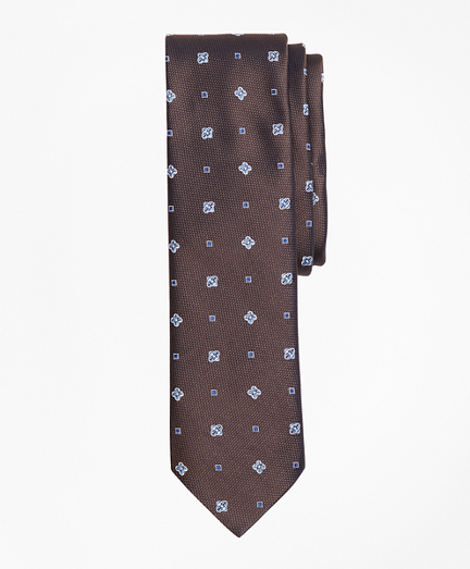 Floral and Square Pattern Silk Tie