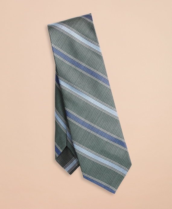 Alternating Stripe Silk Tie Green