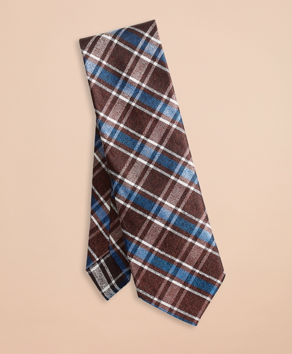 Plaid Silk Tie Brown