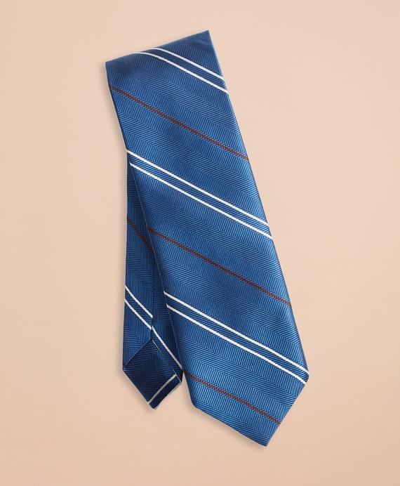 Twill Stripe Silk Tie Blue