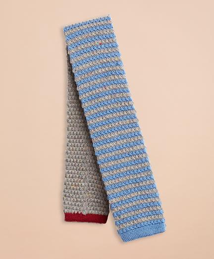 Striped Wool-Silk Knit Tie