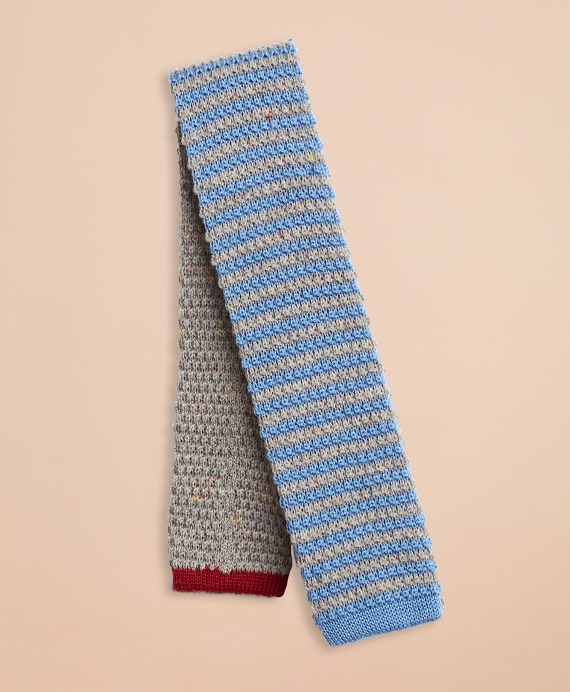 Striped Wool-Silk Knit Tie Grey