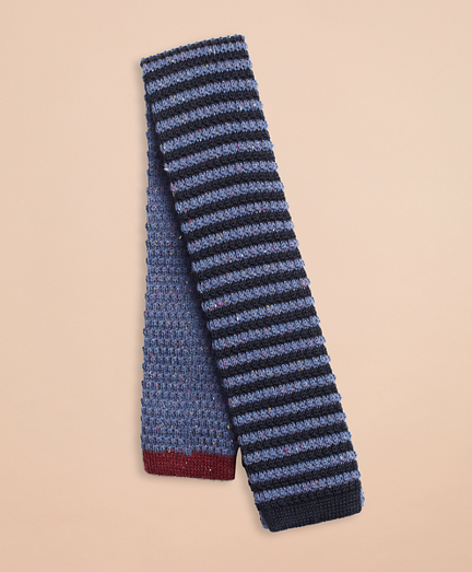 Striped Wool-Silk Knit Tie
