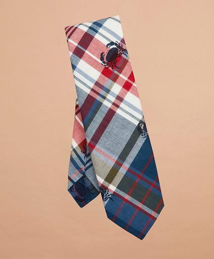 Crab-Print Madras Tie