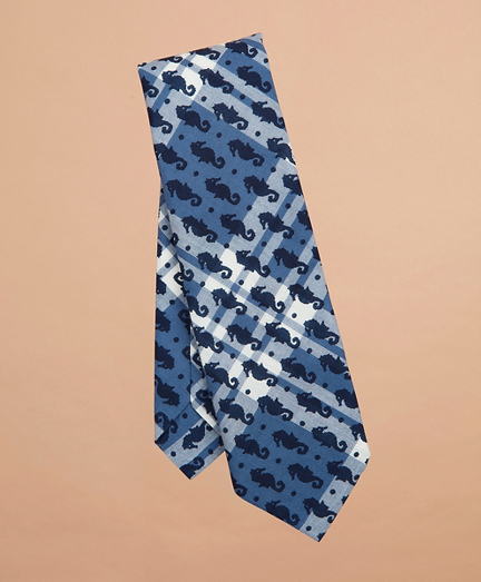 Seahorse-Print Madras Tie