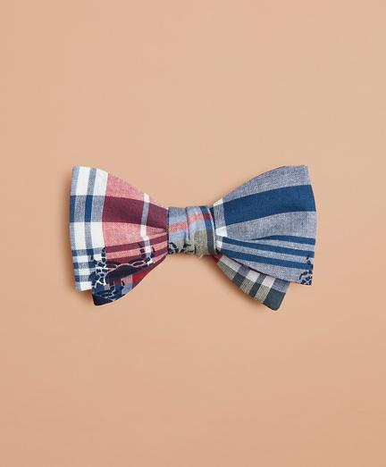 Crab-Print Madras Bow Tie