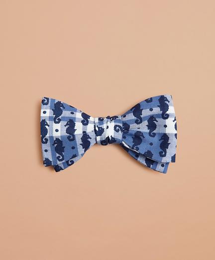 Seahorse-Print Madras Bow Tie