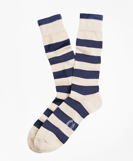 Marled Rugby Stripe Crew Socks