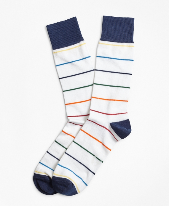 Happy Stripe Crew Socks White