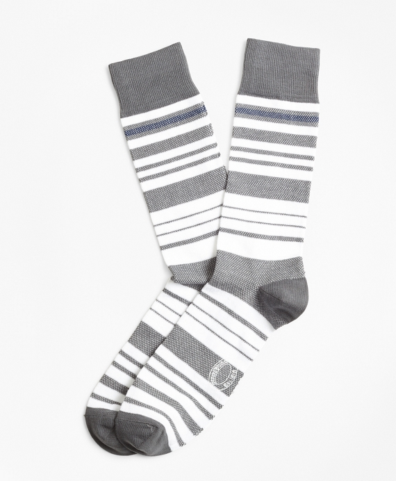 Variegated Stripe Crew Socks Grey