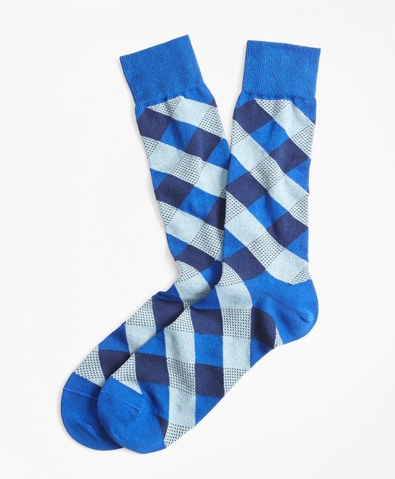 Argyle Crew Socks Blue