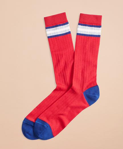 Striped Color-Block Ribbed Crew Socks