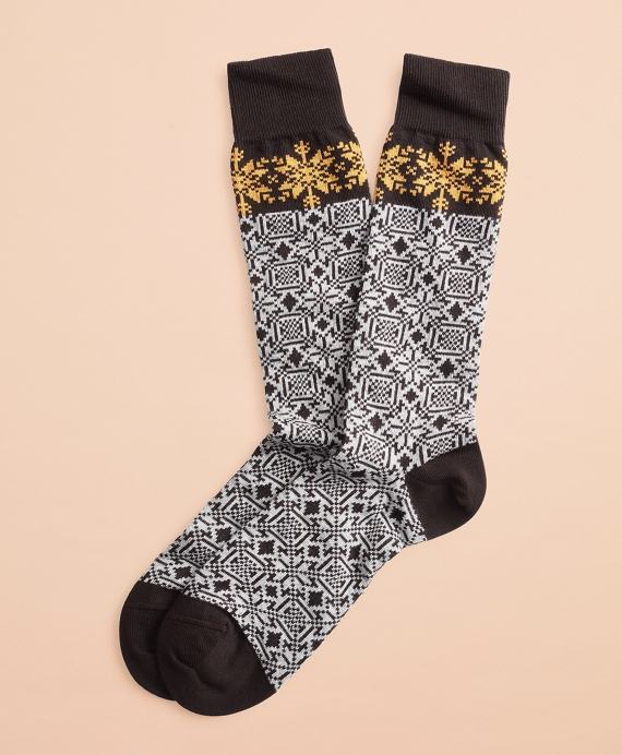 Snowflake Cotton Stretch Crew Socks Black