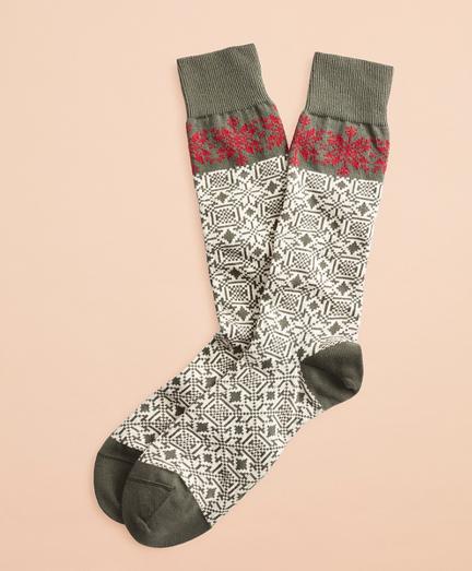 Snowflake Cotton Stretch Crew Socks