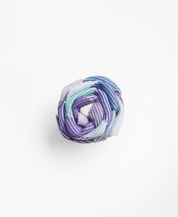 Stripe Lapel Flower Blue