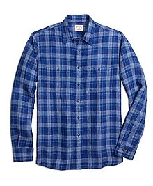 Windowpane Linen Sport Shirt
