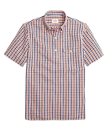 Seersucker Check Popover Short-Sleeve Sport Shirt