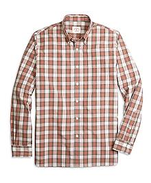 Brown and Orange Plaid Shirt