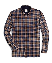 Navy Plaid Flannel Sport Shirt