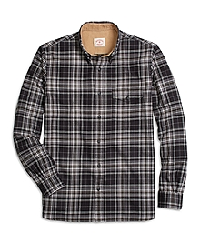 Black Plaid Flannel Sport Shirt