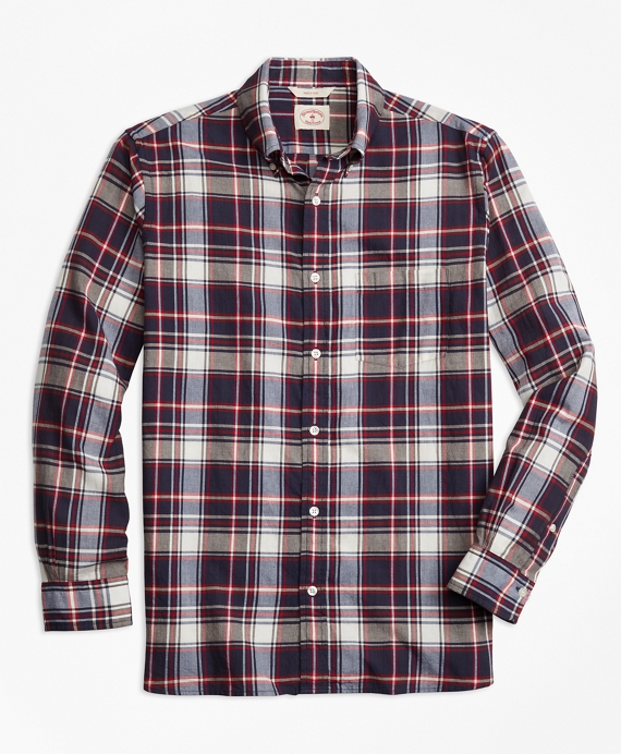 Plaid Crepe Madras Sport Shirt Navy