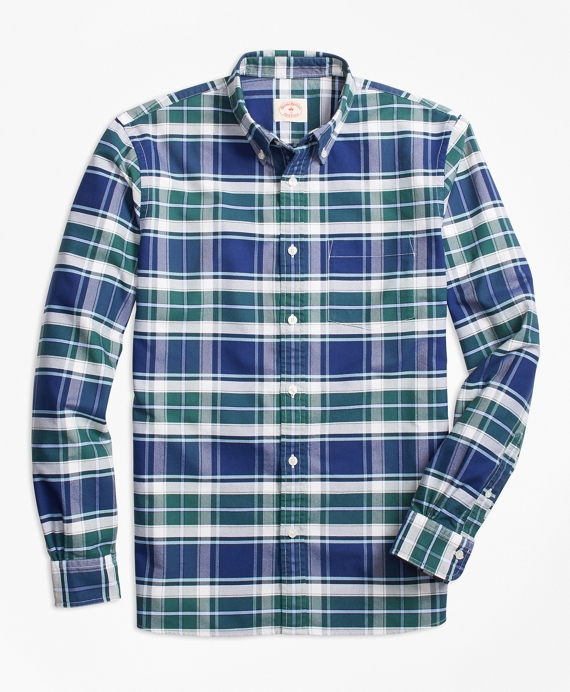 Plaid Oxford Cotton Sport Shirt Green-Blue