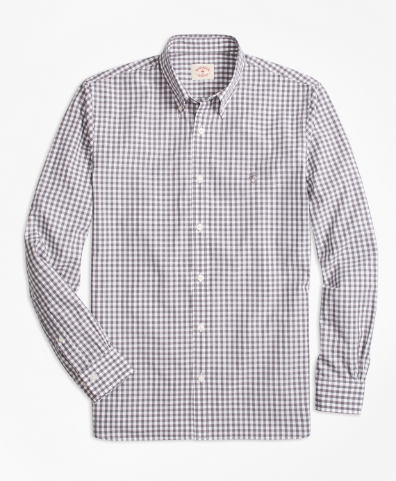 Gingham Cotton Broadcloth Sport Shirt Grey