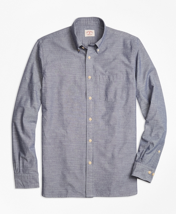 Cotton Chambray Sport Shirt Blue