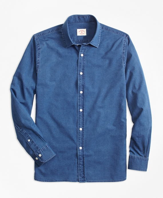 Indigo-Dyed Cotton Chambray Sport Shirt Chambray