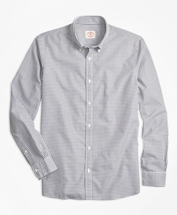 Nine-to-Nine Windowpane Plaid Shirt Navy