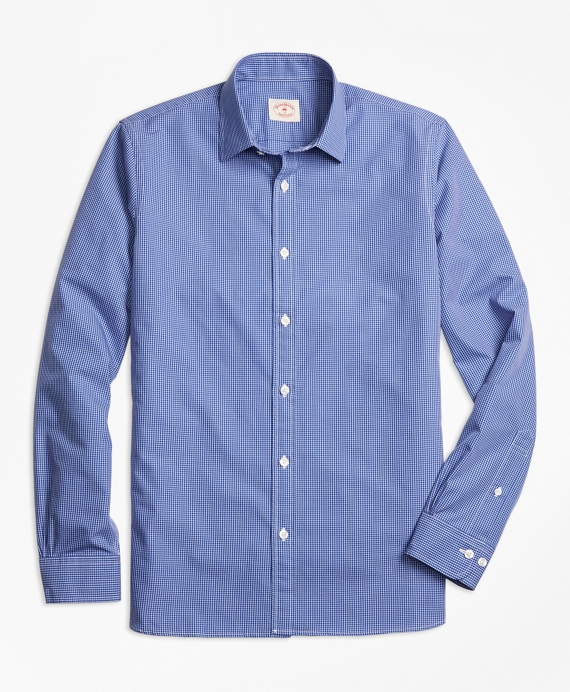 Micro-Grid Cotton Poplin Nine-to-Nine Shirt Blue
