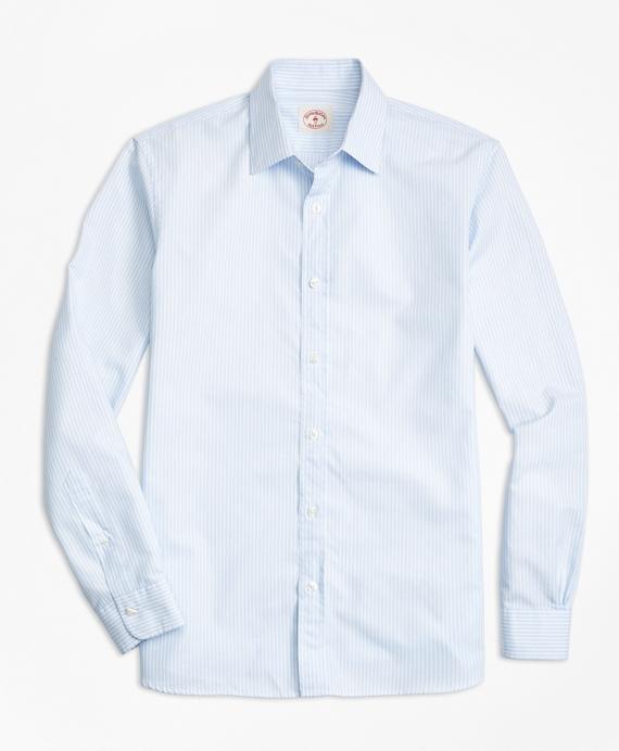 Stripe Cotton Poplin Nine-to-Nine Shirt Blue