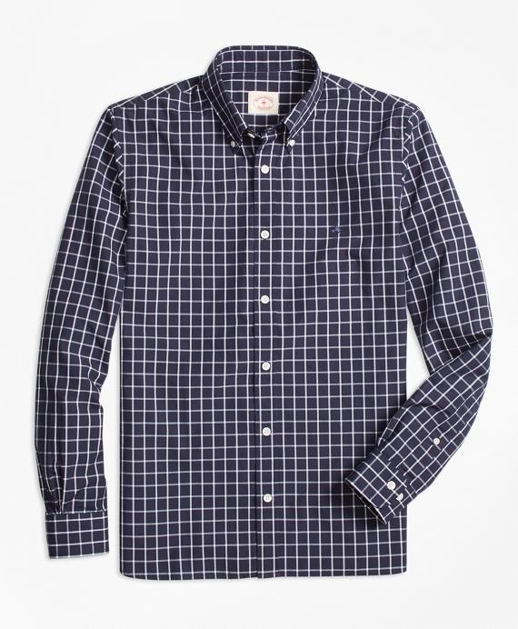 Windowpane Broadcloth Sport Shirt Navy