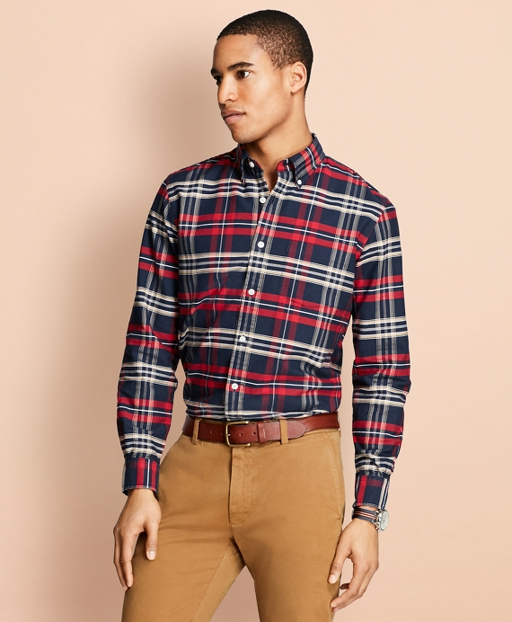 Yarn-Dyed Plaid Oxford Sport Shirt Navy-Red