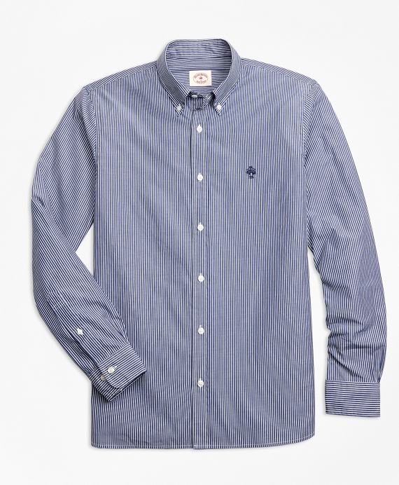Yarn-Dyed Stripe Cotton Poplin Sport Shirt Blue