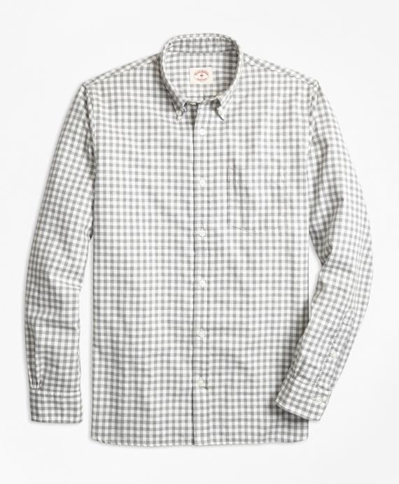 Gingham Brushed Cotton Flannel Sport Shirt Grey