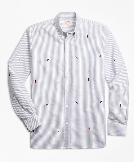 Holiday Light-Embroidered Striped Cotton Oxford Sport Shirt