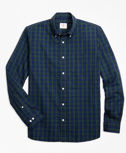 Black Watch Tartan Cotton Basketweave Oxford Sport Shirt