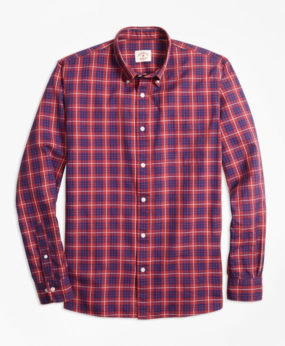 Tartan Cotton Basketweave Oxford Sport Shirt Red-Blue
