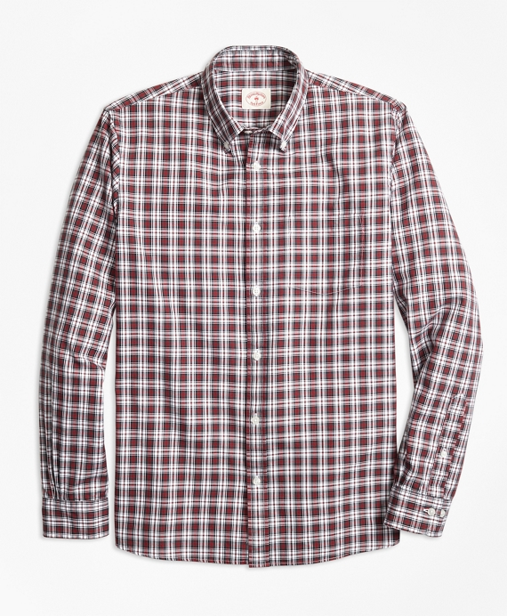 Tartan Cotton Basketweave Oxford Sport Shirt White-Red