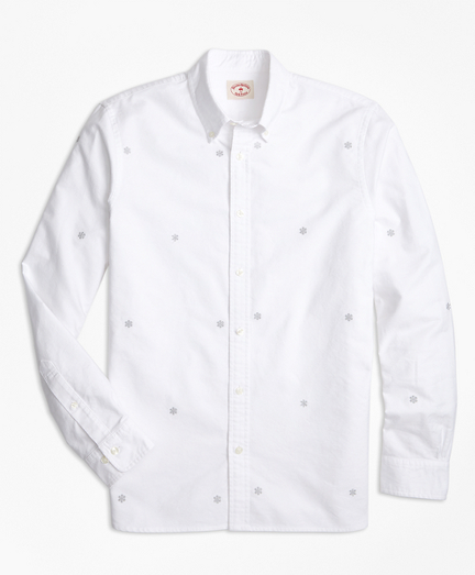 Snowflake-Embroidered Cotton Oxford Sport Shirt
