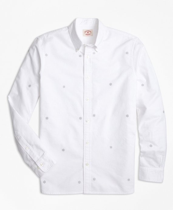 Snowflake-Embroidered Cotton Oxford Sport Shirt White