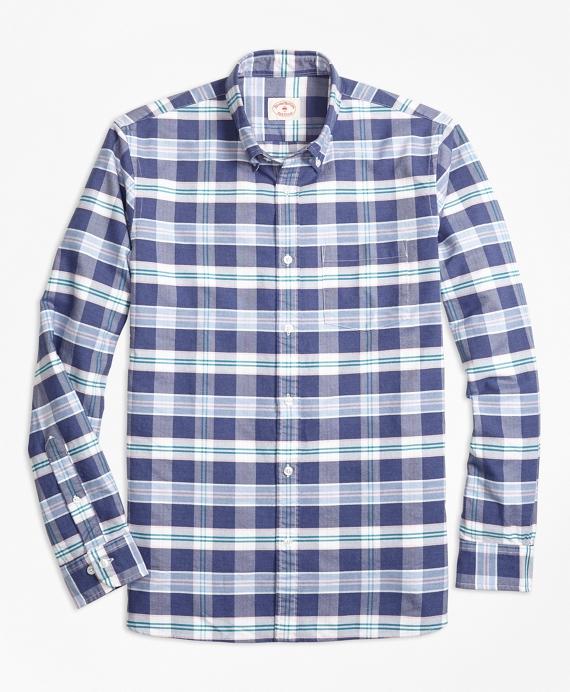 Plaid Supima® Cotton Oxford Sport Shirt Navy