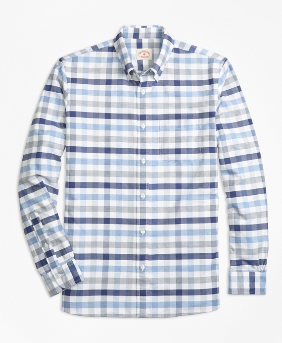 Checked Supima® Cotton Oxford Sport Shirt Blue