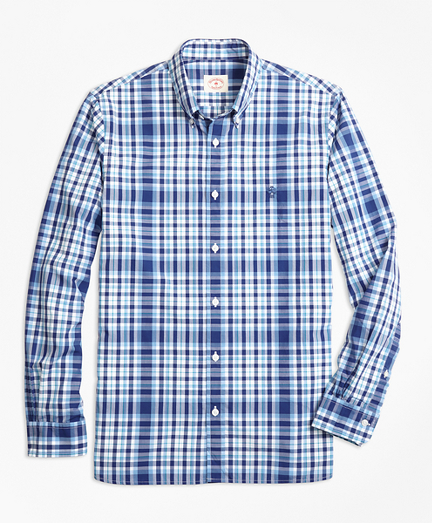 Plaid Cotton Poplin Sport Shirt