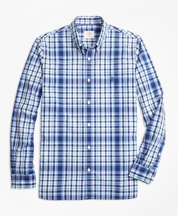 Plaid Cotton Poplin Sport Shirt Blue