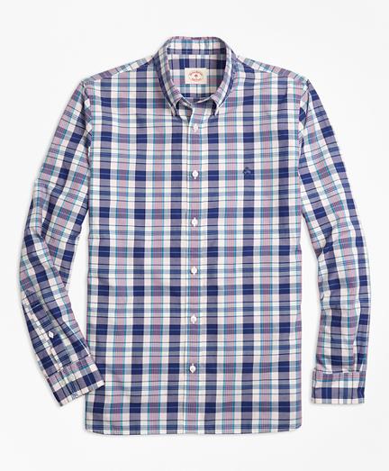 Plaid Cotton Poplin Sport Shirt