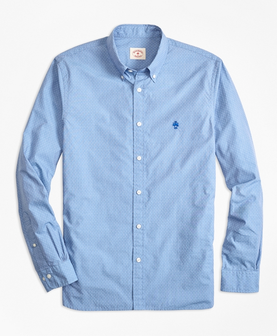 Dotted Broadcloth Sport Shirt Blue